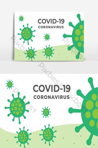 vírus de infecção ou vetor livre de design de banner de coronavírus covid 19 Elementos gráficos Modelo EPS