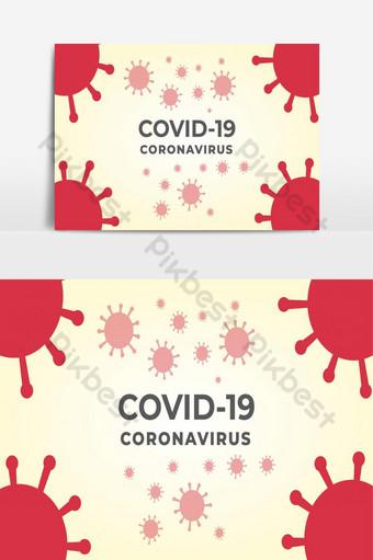 covid 19紅色冠狀病毒設計模板免費矢量 元素 模板 EPS