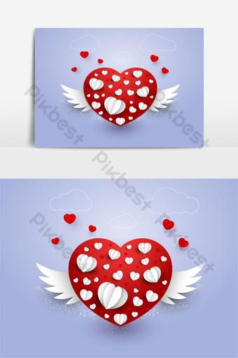 papel cortado corazón de amor con alas para el día de san valentín o cualquier otra tarjeta de invitación de amor ve Elementos graficos Modelo EPS