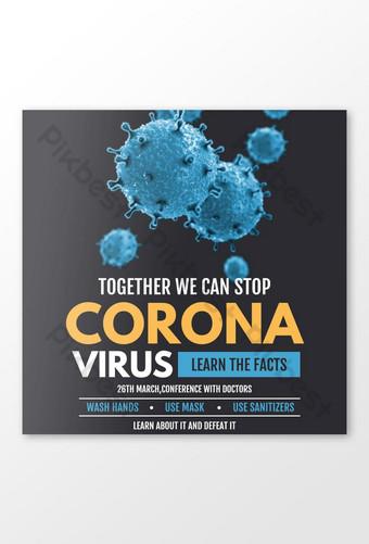 file vektor ilustrator posting facebook kesadaran konferensi virus corona Templat PSD