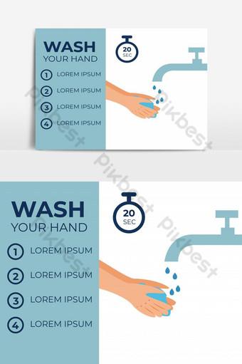 ilustrasi mencuci tangan dengan langkah-langkah dan berhenti menonton dan menyalin template vektor ruang Elemen Grafis Templat EPS
