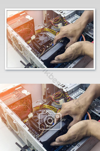 Technician repair graphic card cleaning computer pc. In the computer service center. Photo Template JPG