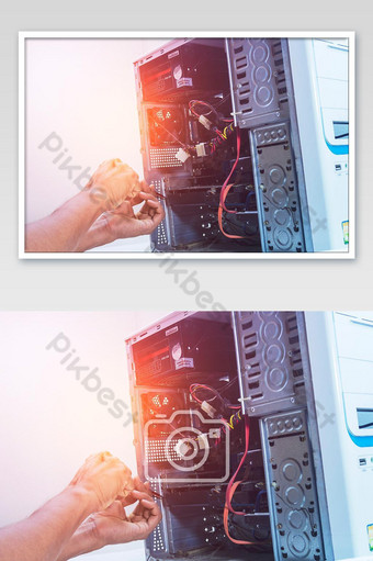 Technician computer pc repairing graphic card or cleaning. In the computer service center Photo Template JPG