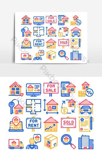 construcción de casa venta vector conjunto de iconos de línea delgada Elementos graficos Modelo AI