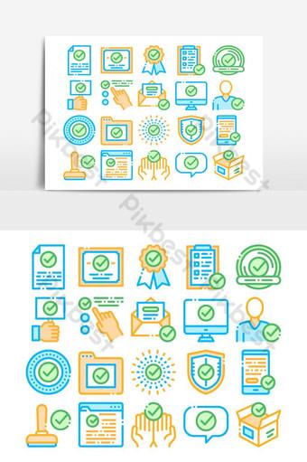 Conjunto de iconos de vector de elementos de colección aprobados Elementos graficos Modelo AI