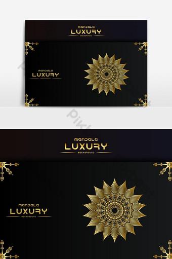 Fondo de diseño de mandala ornamental de lujo en color dorado. Elementos graficos Modelo EPS