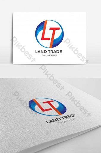 huruf kreatif l dan t logo dengan templat vektor gelombang bulat Templat EPS