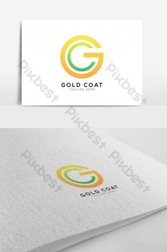 شعار حرف g و c باللون الذهبي والأخضر قالب EPS