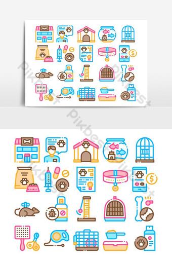 iconos de elementos de colección de tienda de mascotas vector set Elementos graficos Modelo AI