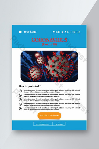 Dépliant médical sur la sécurité des virus Corona Modèle EPS