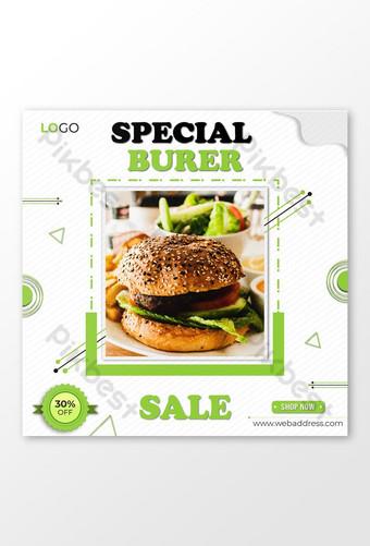 Modèle de conception de publication Facebook spécial Big Burger avec offre Modèle AI