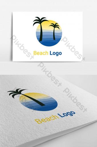 vector de logo creativo de playa Modelo AI