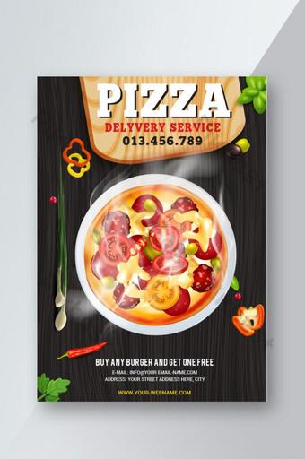 Modèle de conception de flyer pizza avec image vectorielle Modèle EPS