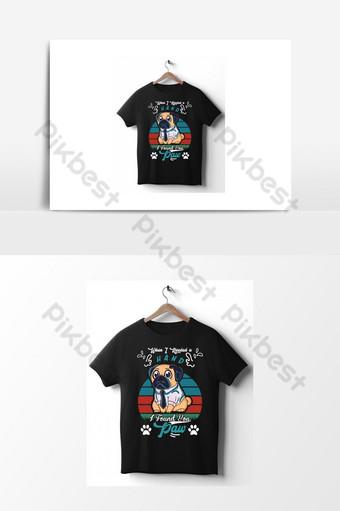 Modèle de conception de t-shirt de vecteur de chien imprime sur des vêtements tasses sacs cartes de vœux Éléments graphiques Modèle AI