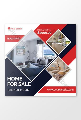 Publicación en redes sociales de bienes raíces o anuncio de banner web. Modelo PSD