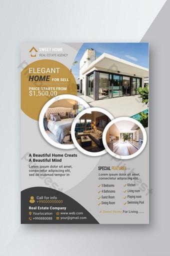 Dépliant immobilier moderne pour maison élégante Modèle PSD