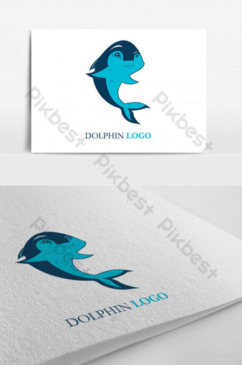Dolphin smart fish jumping above waves. Spa, sport, travel vector sea beach logo template. Template AI