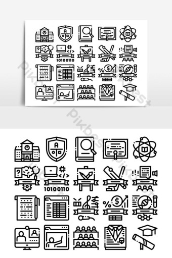 academia, educación, colección, iconos, conjunto, vector Elementos graficos Modelo AI