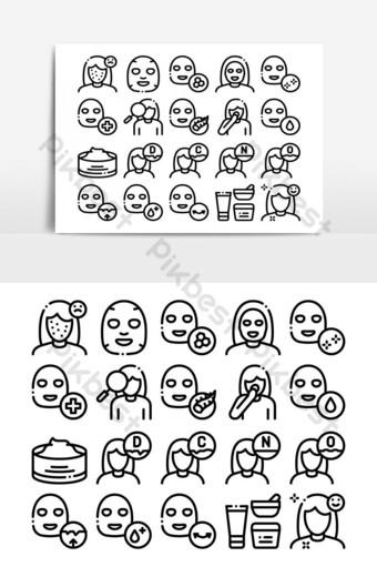 mascarilla facial cuidado de la salud colección de iconos vector set Elementos graficos Modelo AI