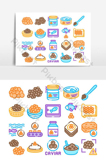 Caviar Seafood Product Collection Icons Set Vector PNG Images Template AI
