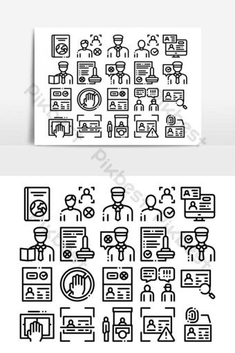 Passport Control Check Collection Icons Set Vector PNG Images Template AI