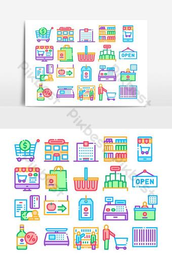 tienda de comestibles, compras, colección, iconos, conjunto, vector Elementos graficos Modelo AI