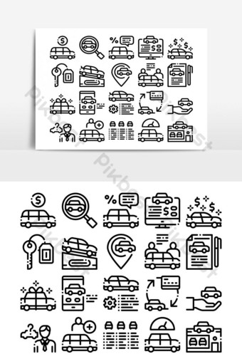 Concesionario de coches tienda colección iconos vector set Elementos graficos Modelo AI