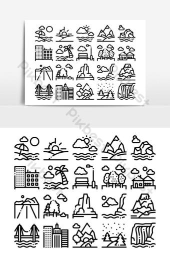 paisaje, viaje, lugar, colección, iconos, conjunto, vector Elementos graficos Modelo AI