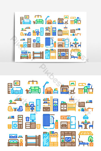 Home Rooms Furniture Collection Icons Set Vector PNG Images Template AI