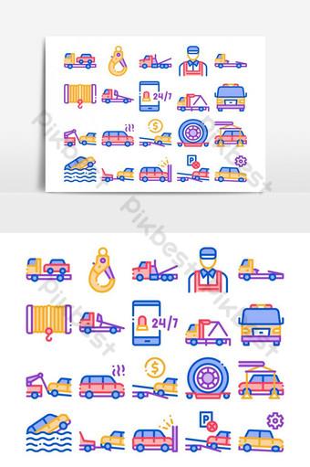 Conjunto de iconos de colección de transporte de camión de remolque vector Elementos graficos Modelo AI