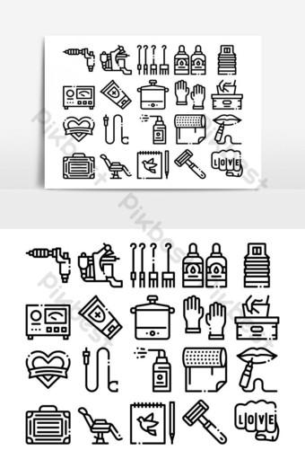 استوديو الوشم مجموعة الرموز مجموعة ناقلات صور PNG قالب AI
