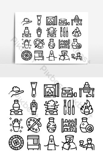 Pottery And Ceramics Collection Icons Set Vector PNG Images Template AI