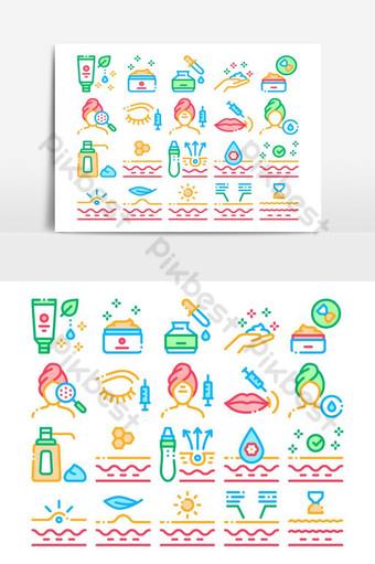 iconos de colección de cosméticos para el cuidado de la piel set vector Elementos graficos Modelo AI