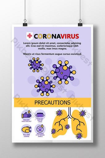قالب تصميم ملصق رسومات معلومات فيروس كورونا قالب PSD