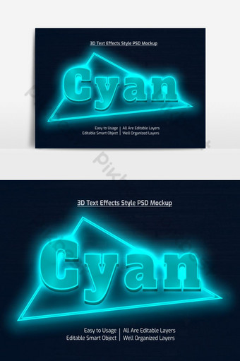 Maquette d'effet de style de police de texte cool cyan néon 3d psd premium Éléments graphiques Modèle PSD
