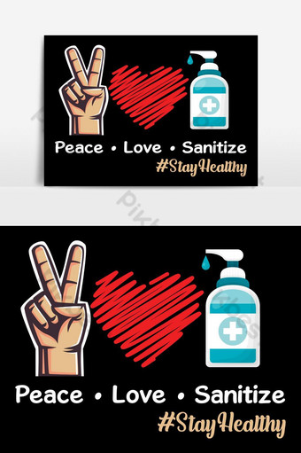 paz amor desinfectar tipografía texto fondo cartel camiseta ilustración diseño vectorial Elementos graficos Modelo EPS