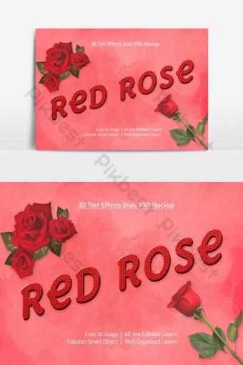 rosa roja 3d texto fresco estilo de fuente maqueta de efecto psd premium Elementos graficos Modelo PSD