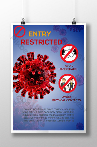 Szablon plakatu o ograniczonym dostępie do koronawirusa COVID 19 AI Szablon AI