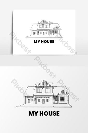 Ilustración de vector de icono de logotipo de casa de bienes raíces Elementos graficos Modelo AI