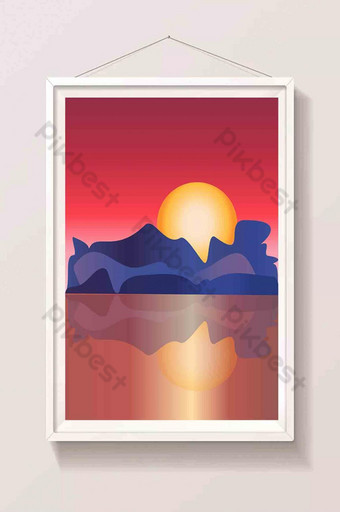 Hand painted colorful sunset with mountain sea landscape Illustration Template AI