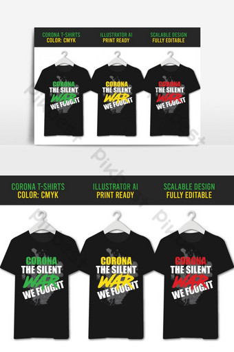 Corona War Casual T-Shirt Design 03 Color Set PNG Images Template AI