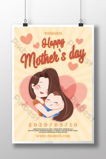pôster caloroso e harmonioso do festival do dia das mães Modelo PSD