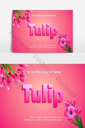 tulipán 3d texto fresco estilo de fuente maqueta de efecto psd premium Elementos graficos Modelo PSD