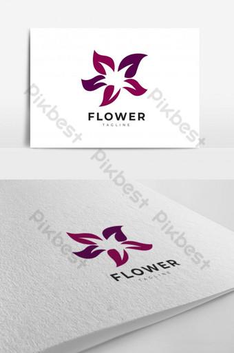 logo de flor con color morado Modelo EPS