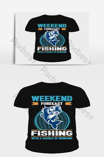 previsão de fim de semana pesca com uma chance de beber amor pesca design de camiseta Elementos gráficos Modelo AI