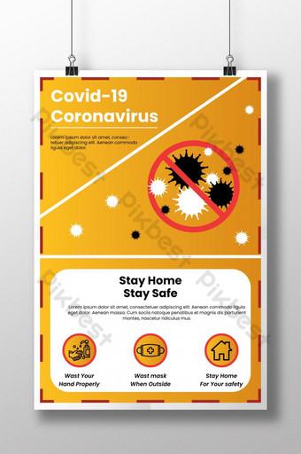 Projekt plakatu informującego o koronawirusie Covid 19 Szablon AI
