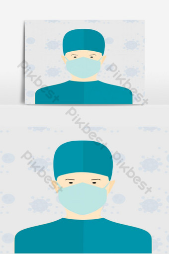desenho de médico usando máscara contra covid 19 Elementos gráficos Modelo AI