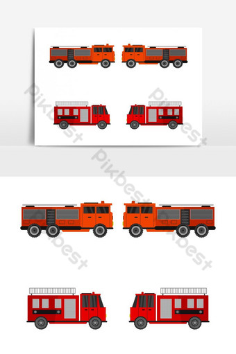 fire truck illustrated in vector on white background PNG Images Template EPS