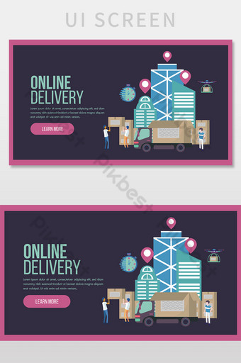 Online delivery service concept landing page with truck and staff service UI Template AI