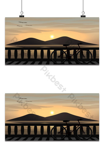 A bicycle is parking on a coast road with sea and an island at sunset. Backgrounds Template EPS